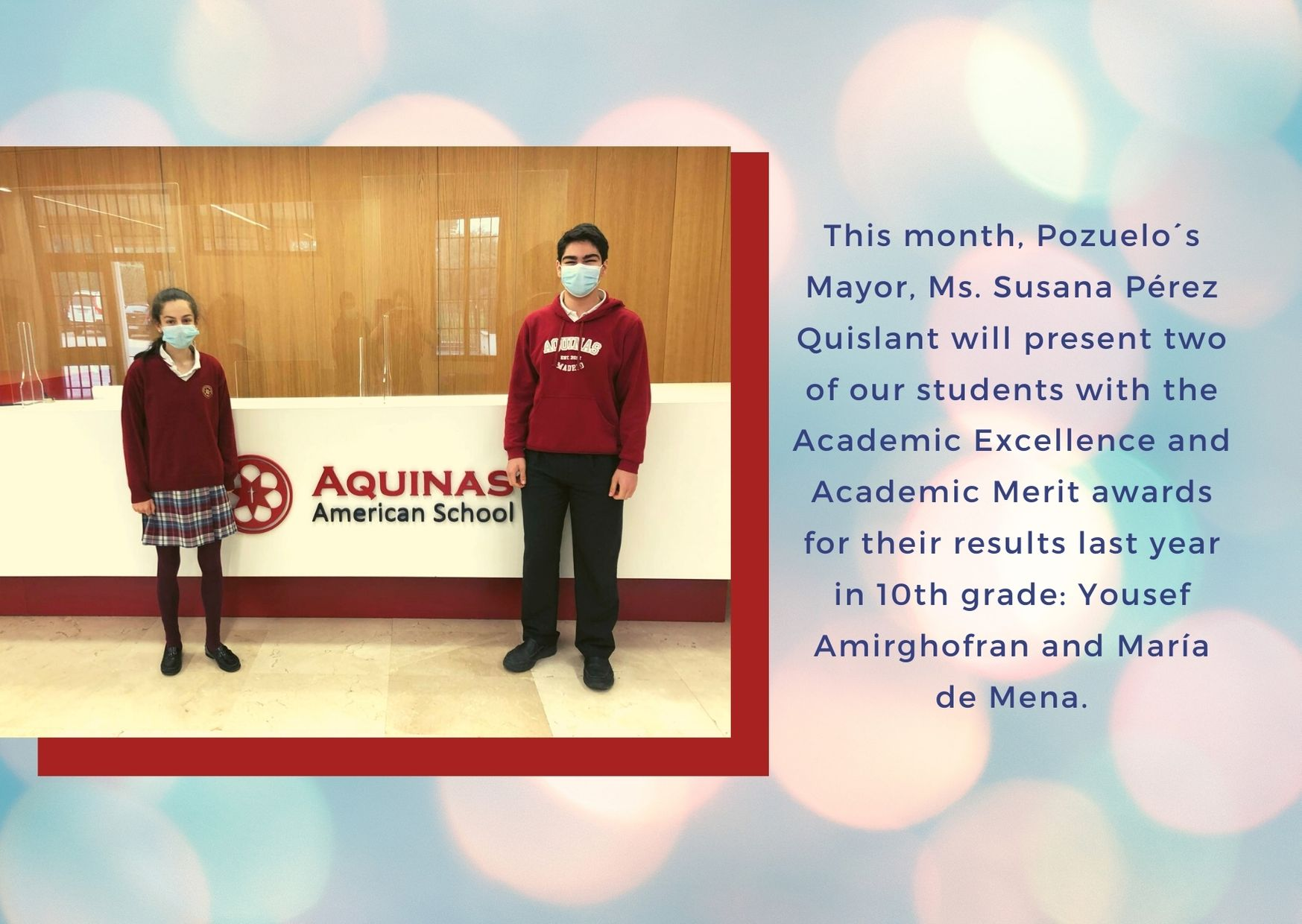Pozuelo´s Mayor, Ms. Susana Pérez Quislant Will Present Two of Our Students with the Academic Excellence and Academic Merit Awards