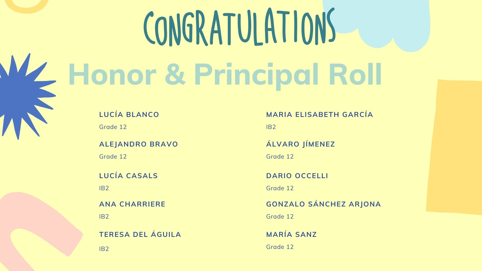 Congratulations to G12 students on the Honor & principal Roll list