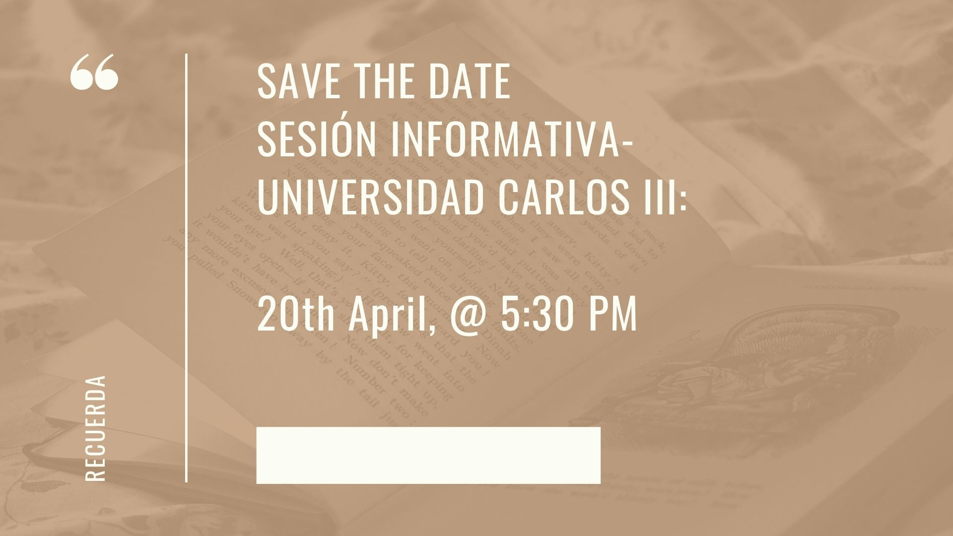 SAVE THE DATE: CARLOS III UNIVERSITY SESSION